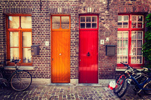 Doors Of Old Houses In Bruges,...
