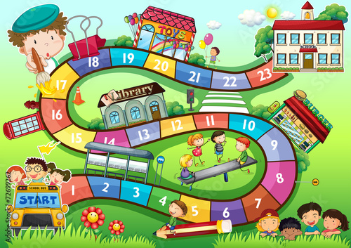 Fototapeta School theme board game obraz