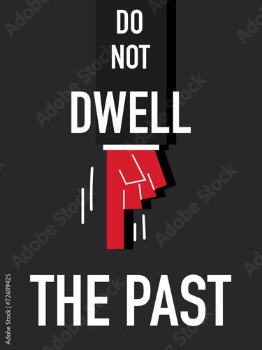 Word DO NOT DWELL THE PAST vector illustration Poster