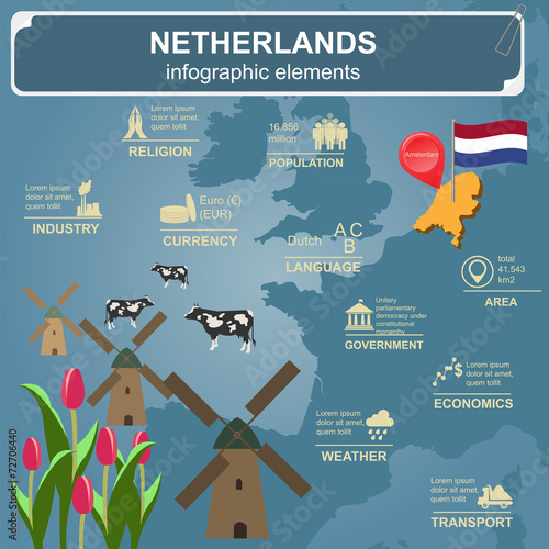 Canvas Print Netherlands infographics, statistical data, sights.