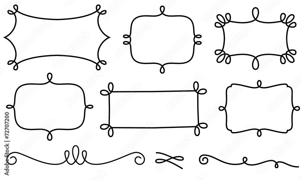 Fototapety, obrazy: Set of decorative frames and design elements