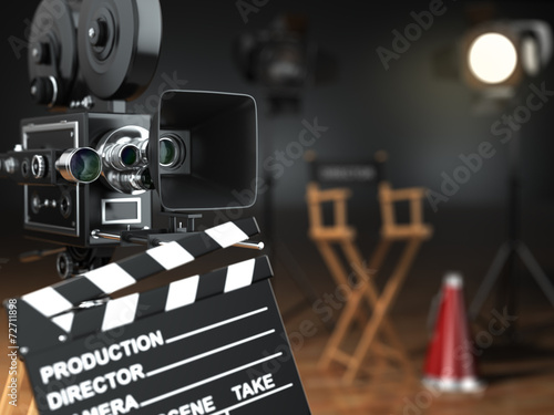 Video, movie, cinema concept. Retro camera, flash, clapperboard Canvas Print