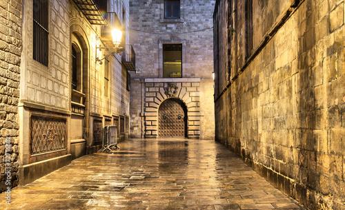 Wet narrow street in gothic quarter, Barcelona #72716882