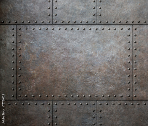 Türaufkleber Metall metal texture with rivets as steam punk background or texture