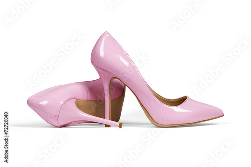 Fotografia  Pink women's heel shoes isolated with clipping path.