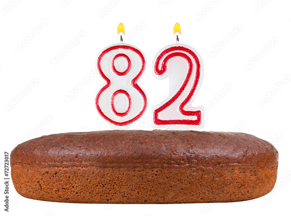 Birthday Cake Candles Number 82 Isolated Foto Poster Wandbilder Bei EuroPosters