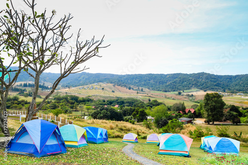 Canvas Prints Camping group of tourist tent on the hills