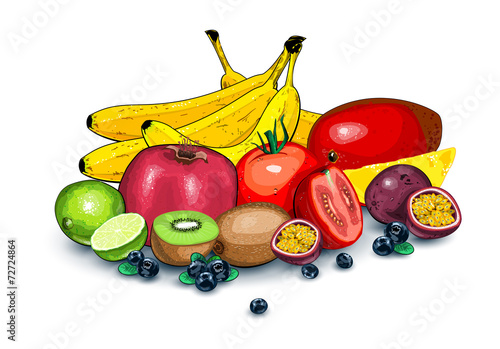 Lots of fruits together