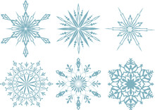 Set Of Snowflakes, Red Backgro...