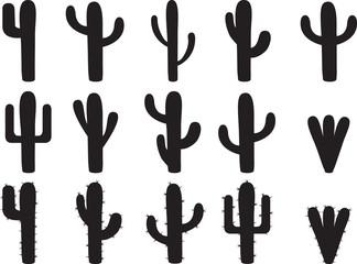 Siluete kaktusa ilustrirane na bijeloj boji