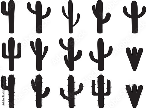 Fotografia, Obraz Cactus silhouettes illustrated on white