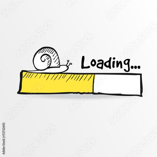 Fotografía  Loading bar with a doodle snail, vector illustration