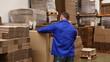 Warehouse worker preparing a shipment