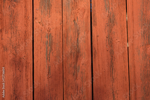 Wooden Wall Painted In Typical Swedish Red Paint