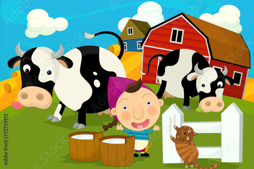 Cartoon happy and funny traditional farm scene - girl milking cows - illustration for children