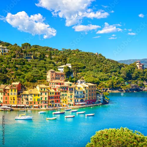Photo Portofino luxury village landmark, panoramic aerial view. Liguri