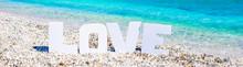Word Love On Tropical Beach Ba...