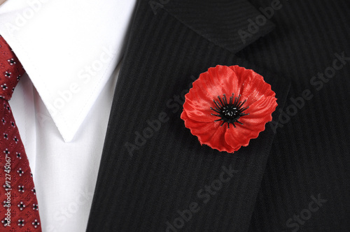 Lest We Forget Poppy Lapel Pin Badge - Buy this stock photo