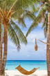 bamboo hammok on tropical beach and sea background, summer vacat