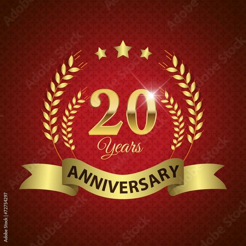 фотография  Celebrating 20 Years Anniversary, Golden Laurel Wreath & Ribbon