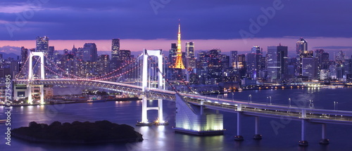 La pose en embrasure Ponts view of Tokyo Bay , Rainbow bridge and Tokyo Tower landmark