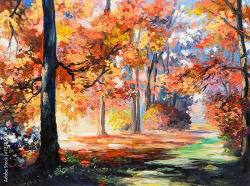 obraz-olejny-pejzaz-kolorowy-jesien-las