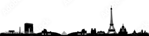 Black and White Paris Skyline Silhouette
