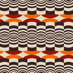 Panel Szklany Podświetlane Ornamenty Seamless retro brown and orange background wave