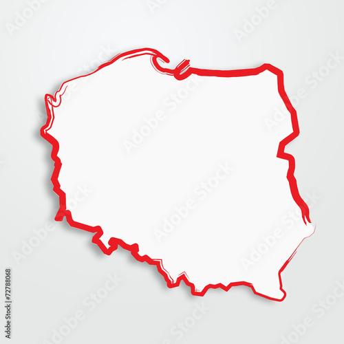 Fotografie, Obraz  polska, mapa, kontur