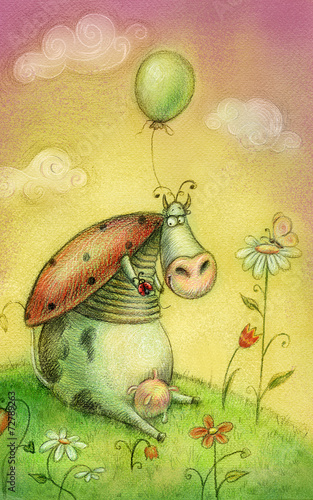 Cute cow with balloon.Childish background in vintage colors. Canvas-taulu