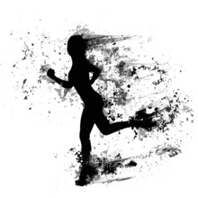 Sport Woman Run Paint Splash Silhouettes, Black Girl Isolated