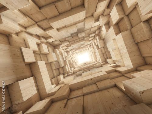 tunel-3d-z-drewnianych-klockow