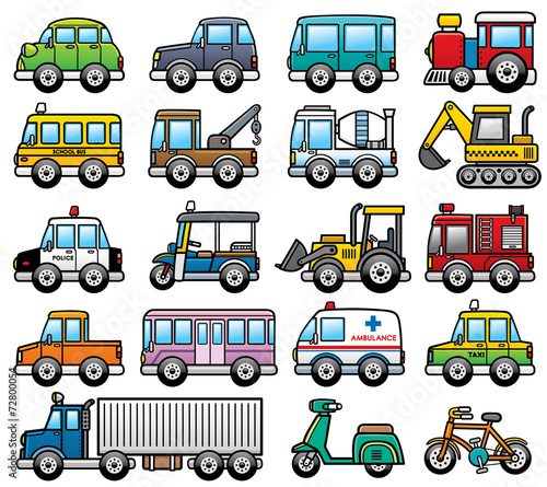 Staande foto Cartoon cars Vector Illustration of cartoon Car set