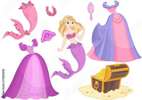 Poster Castle Mermaid Paper Doll