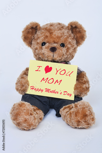 Fotografie, Obraz  Teddy bear holding a yellow sign that says I love mom