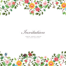 Invitation Card With Cute Flow...