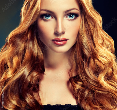 Fototapety, obrazy: Beautiful model with long curly red hair