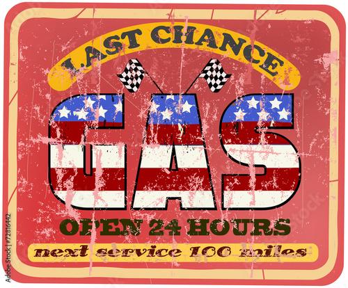 Vintage gas station sign, retro sytle vector illustration