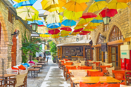 Deurstickers Cyprus The umbrellas