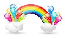 Party Balloons With Rainbow An...