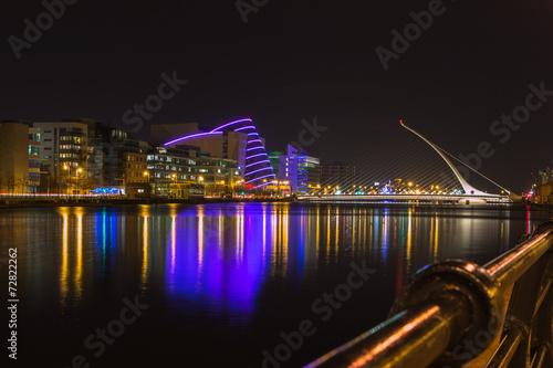 City on the water night Dublin
