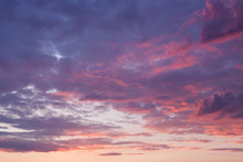 Sky With Purple Clouds At Sunset