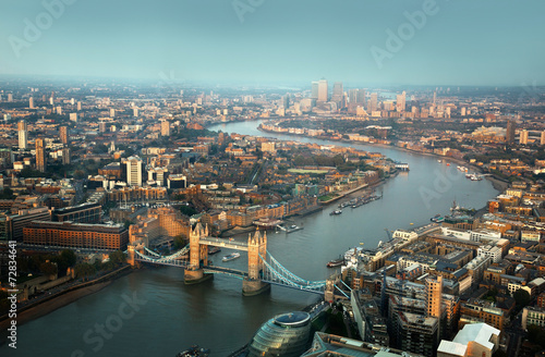 Garden Poster London London aerial view with Tower Bridge in sunset time