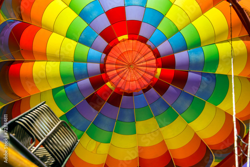 Poster Montgolfière / Dirigeable Inside of colorful hot air balloon