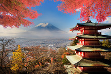 Mt. Fuji With Fall Colors In J...
