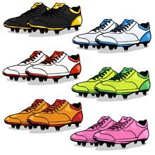 Vector Set Of Cartoon Soccer Boots