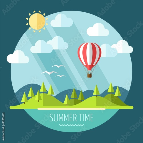 Foto op Canvas Groen blauw Summer landscape in flat style - vector illustration