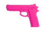 Różowy pistolet treningowy na białym tle - 72857275