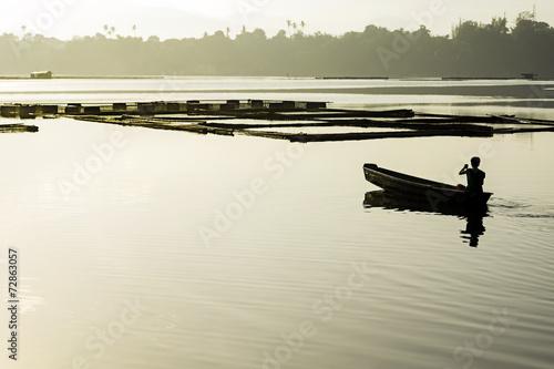 Tuinposter Early Lake Fishing
