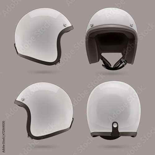 Fotografie, Tablou White motorbike classic helmet. Front, back and side view